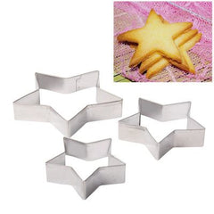 3 PCS Pentagram Shape Food Processing Machine for Soft Biscuit Machine / Cake Biscuit Moulds(Silver)