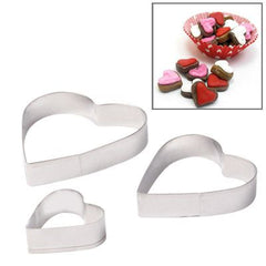 3 PCS Heart Shape Food Processing Machine for Soft Biscuit Machine / Cake Biscuit Moulds(Silver)