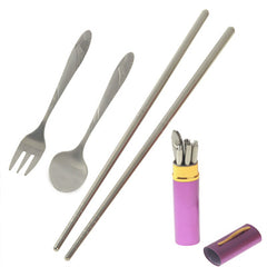 Stainless Steel Travel-Easy Fork + Spoon + Chopsticks Set (Red Plum)