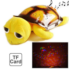 Big Eyes Plush Tortoise Star Projector Light with MP3 Function Built in USB Interface and TF Card Slot (Yellow)