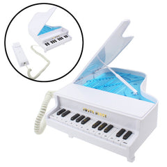 Elegant Classical Piano Shape Wire Corded Telephone (White)