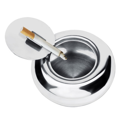 Portable Stainless Steel Drum Shaped Ashtray with Lid Cigar Holder