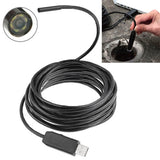 Waterproof USB Endoscope Snake Tube Inspection Camera with 6 LED Length: 15m Lens Diameter: 7mm(Black)