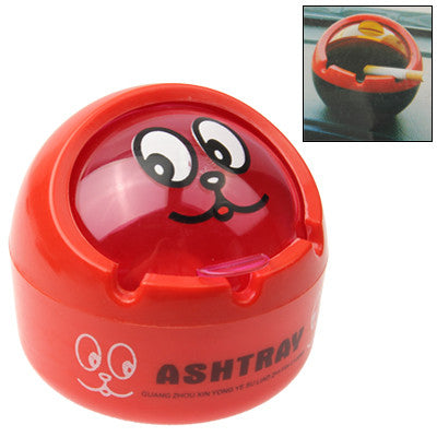 Cartoon Print Ball Shaped Flap Cover Cigarette Ash Tray Ashtray(Red)