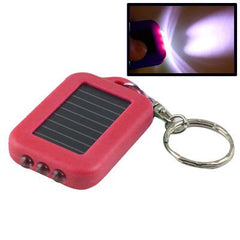Mini Solar Power Recharge 3 LED Light Key Chain (Red)