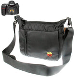Portable Digital Camera Cloth Bag with Strap Size: 195 x 85 x 155mm (Black)