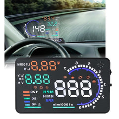 A8 5.5 inch Car OBDII HUD Warning System Vehicle-mounted Head Up Display Projector with LED Support Fuel Consumption & Over Speed Alarm & Water Temperature & Fault Diagnosis