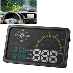 6 Inch Car HUD Head Up Display Vehicle-mounted Security System with OBDII Interface & Speed & Fuel Consumption & Water Temperature & Fault Diagnosis & Compass Etc