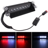 8W 800LM 8-LED White + Red Light 3-Modes Adjustable Angle Car Strobe Flash Dash Emergency Light Warning Lamp with Suckers DC 12V