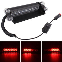 8W 800LM 8-LED Red Light 3-Modes Adjustable Angle Car Strobe Flash Dash Emergency Light Warning Lamp with Suckers DC 12V