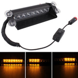 8W 800LM 8-LED Yellow Light 3-Modes Adjustable Angle Car Strobe Flash Dash Emergency Light Warning Lamp with Suckers DC 12V