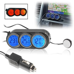 Car Digital Thermometer with Clock / Calendar(Black)