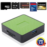 Super Speed USB 3.0 Card Reader Compatible with SD / Micro SD / CF / XD / MS / M2 Card Green (Metal Housing)