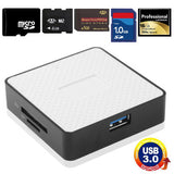 Super Speed USB 3.0 Card Reader Compatible with SD / Micro SD / CF / XD / MS / M2 Card White (Metal Housing)