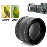 2X 58mm Professional Telephoto Lens for Canon 350D / 400D / 450D / 500D / 1000D / 550D / 600D / 1100D(Black)