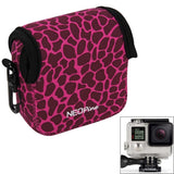 GN-5 Leopard Texture GoPro Accessories Waterproof Housing Neoprene Inner Protective Bag Camera Pouch for GoPro Hero4 /3+ /3(Magenta)