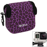 GN-5 Leopard Texture GoPro Accessories Waterproof Housing Neoprene Inner Protective Bag Camera Pouch for GoPro Hero4 /3+ /3(Purple)