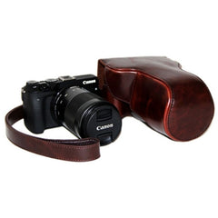 Oil Skin PU Leather Camera Case Bag with Strap for Canon EOS M3(Coffee)