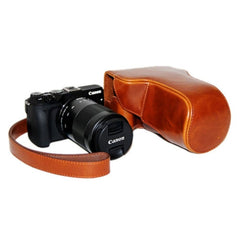 Oil Skin PU Leather Camera Case Bag with Strap for Canon EOS M3(Brown)