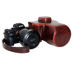 Oil Skin PU Leather Camera Case Bag with Strap for Sony ILCE-7II(Coffee)