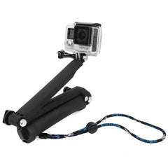 TMC 3-Way Handheld Monopod + Tripod + Hand Strap Portable Magic Mount Selfie Stick for GoPro HERO4 / 3+ / 3 / 2 / 1 SJ4000(Black)