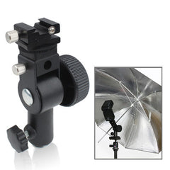 Flash Light Stand Bracket D Type with Screw Hole(Black)