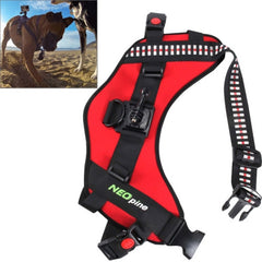 NEOpine Dog Fetch Hound Harness Adjustable Chest Strap Belt Mount for GoPro HERO 4 / 3+ / 3 / 2 / 1(Red)