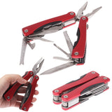 9 in 1 Folding Stainless Steel Multifunction Pliers Tool / Outdoor Use Plier (Red)