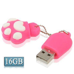 16GB Bear's Paw Shaped Silicone USB 2.0 Flash Disk with Anti Dust Cup (Red Plum)