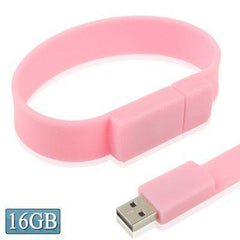 16GB Silicon Bracelets USB 2.0 Flash Disk (Pink)