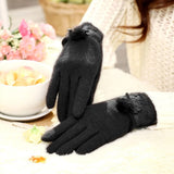 Fashionable Mink Fur Ball and Lace Design Cashmere Gloves for Women(Black)