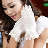 Fashionable Ultraviolet-proof Lace Gloves for Women(White)