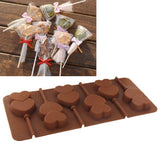 High Quality 6pcs DIY Lollipop Silicone Candy Double Hearts Mould Chocolate Mold