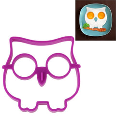 Cartoon Owl Shape Egg Frying Ring Mold Silicone Egg Fried Mould Omelette Mold(Purple)