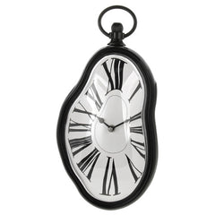 Roman Numeral Retro Timepiece  Melting Distorted Wall Clock(Black)