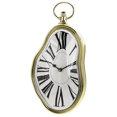 Roman Numeral Retro Timepiece  Melting Distorted Wall Clock(Gold)