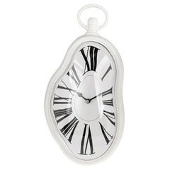 Roman Numeral Retro Timepiece  Melting Distorted Wall Clock(White)