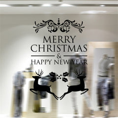 Home Decor Merry Christmas Happy New Year Removable Wall Stickers Size: 58cm x 58cm(Black)