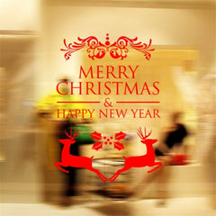 Home Decor Merry Christmas Happy New Year Removable Wall Stickers Size: 58cm x 58cm(Red)