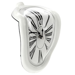 Roman Numeral Novelty Distorted Retro Timepiece Art Warp Chrome Melting Quartz Irregular Clock(White)