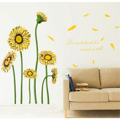 Daisy Pattern Lovely Children Room Decorative Wall Stickers Size: 60cm x 90cm(Yellow)