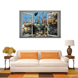 3D Underwater World Window View Removable Wall Art Sticker Size: 66 x 98 x 0.3 cm