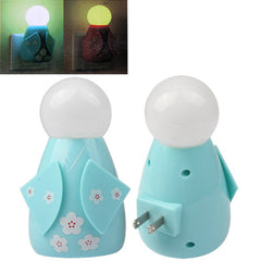 Japanese Doll Design Light Activated LED Light Night Lamp US Plug (Blue)