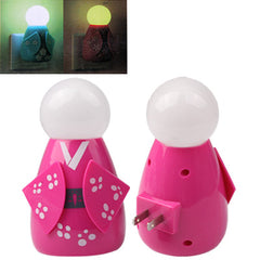 Japanese Doll Design Light Activated LED Light Night Lamp US Plug (Magenta)