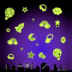 DIY Wall Stickers Decals Glow in Dark Stickers Fluorescent Luminous for Room - Cartoon Star Scene