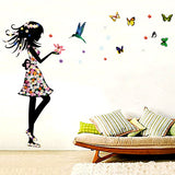 DIY Fashion Self Adhesive PVC Removable Wall Stickers / House Interior Decoration Pictures -- Girl and Butterfly Size: 50cm x 70cm