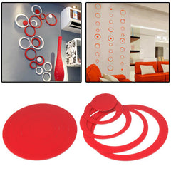 Circle Shaped DIY Adhesive Wall Sticker Decal Wallpaper House Interior Decor(Red)