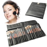 Professional 18pcs Makeup Brush Set Beauty Kit Cosmetic + PU Leather Carrying Case(Black)