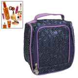 Portable Makeup Bag Cosmetic Storage Bag with Mirror(Purple)