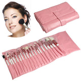 Professional 20pcs Makeup Brush Set Beauty Kit Cosmetic + PU Leather Carrying Case(Pink)
